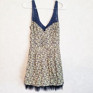Free People Size 8 Yellow Blue Floral Dress